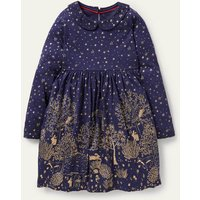 Jersey Collar Printed Dress Navy and Gold Foil Woodland Girls Boden, Navy and Gold Foil Woodland