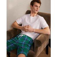 Brushed Cotton Pyjama Shorts Forest/Cerulean Blue Check Men Boden, Forest/Cerulean Blue Check