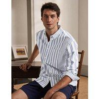 Modern Oxford Shirt Snowdrop/Regal Blue Stripe Boden, Snowdrop/Regal Blue Stripe
