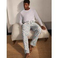 Brushed Cotton Pyjama Bottoms Charcoal Marl/Tiger Motorbikes Christmas Boden, Charcoal Marl/Tiger Mo