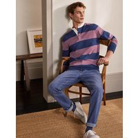 Grandad Collar Rugby Shirt Navy Blue/Dusky Mauve Stripe Men Boden, Navy Blue/Dusky Mauve Stripe