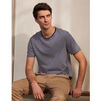 Classic Cotton T-shirt Navy/Ivory Stripe Men Boden, Navy/Ivory Stripe