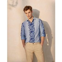 Linen Cotton Pattern Shirt Blue Chambray Border Floral Men Boden, Blue Chambray Border Floral.