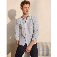 Linen Cotton Pattern Shirt Stripe Roadtrip Embroidery Men Boden, Stripe Roadtrip Embroidery.