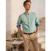 Linen Grandad Shirt Rich Emerald/Coastal Stripe Men Boden, Rich Emerald/Coastal Stripe