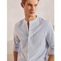 Grandad Collar Pique Shirt Light Blue/ Snowdrop Stripe Men Boden, Light Blue/ Snowdrop Stripe.