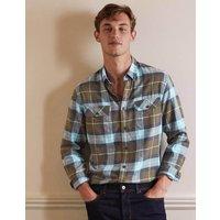 Julian Shirt Khaki/Heavenly Blue Check Boden, Khaki/Heavenly Blue Check