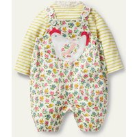Cord Dungaree Set Ivory Patchwork Floral Baby Boden, Ivory Patchwork Floral.