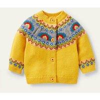 Fair Isle Cardigan Honeycomb Yellow Rainbows Baby Boden, Hon