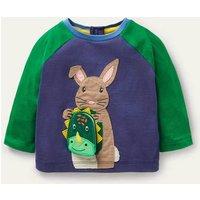 Lift-the-flap Raglan T-shirt Starboard Blue Bunny Baby Boden, Starboard Blue Bunny
