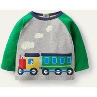 Printed Train T-Shirt Grey Marl Train Baby Boden, Grey Marl Train