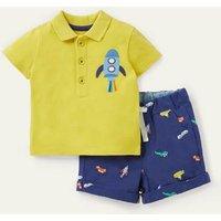 Pique Polo Short Set Starboard Blue Animals Baby Boden, Starboard Blue Animals
