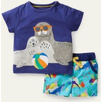 Applique Short Set Aqua Blue Under the Sea Baby Boden, Aqua Blue Under the Sea