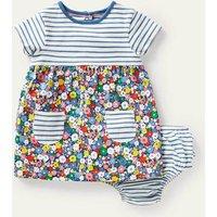 Jersey Hotchpotch Dress Multi Flower Patch Baby Boden, Multi Flower Patch