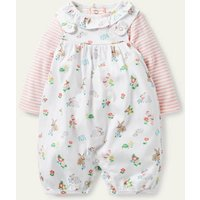 Organic Newborn Dungaree Set Ivory Floral Pets Baby Boden, Ivory Floral Pets