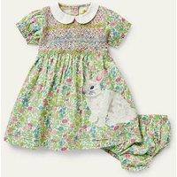 Nostalgic Smocked Woven Dress Multi Vintage Flowerbed Baby Boden, Multi Vintage Flowerbed