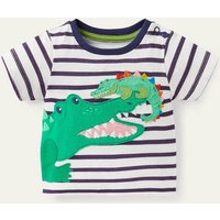 Applique Animals T-shirt Ivory/Starboard Blue Crocodile Baby Boden, Ivory/Starboard Blue Crocodile