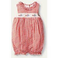 Smocked Check Romper Strawberry Tart Red Gingham Baby Boden, Strawberry Tart Red Gingham