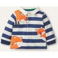 Peeking-in Fox Rugby T-Shirt Ivory/Starboard Blue Foxes Baby Boden, Ivory/Starboard Blue Foxes