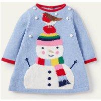 Festive Knitted Dress Bright Bluebell Snowman Baby Boden, Bright Bluebell Snowman