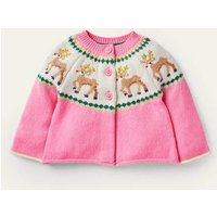 Fair Isle Cardigan Formica Pink Reindeer Boden, Formica Pink