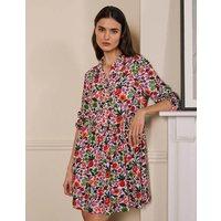 Blouson Sleeve Shirt Dress Ivory, Floral Forest Women Boden, Ivory, Floral Forest