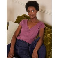 Supersoft Ruched V-neck Tee Figgy Pudding Boden, Figgy Pudding