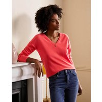 Cashmere V-neck Relaxed Jumper Coral Women Boden, Coral