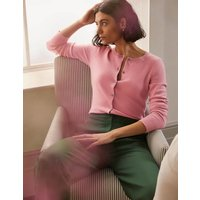 Cashmere Cropped Cardigan Rose Quartz Pink Christmas Boden, Rose Quartz Pink