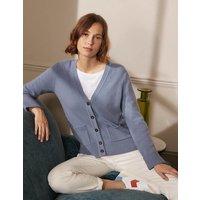 Cashmere Cuff Detail Cardigan Lapis Light Blue Women Boden, Lapis Light Blue