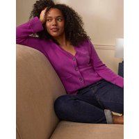 Cashmere Cuff Detail Cardigan Amethyst Purple Women Boden, Amethyst Purple