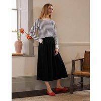 Cotton Sateen Skirt Black Women Boden, Black