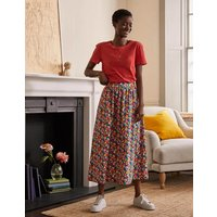 Cotton Sateen Skirt Cherry Red, Paintbox Ditsy Women Boden, Cherry Red, Paintbox Ditsy