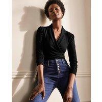 Lara Wrap Top Black Women Boden, Black