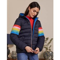 Reversible Puffer Jacket Navy Stripe/Moroccan Blue Women Boden, Navy Stripe/Moroccan Blue