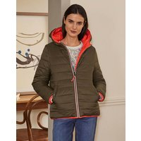 Reversible Puffer Jacket Khaki/Bright Cherry Women Boden, Khaki/Bright Cherry