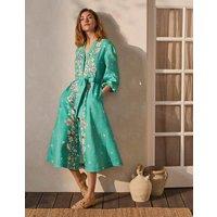 Addie Linen Midi Dress Leafy Green, Placement Print Boden, Leafy Green, Placement Print