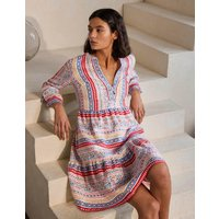 Relaxed Linen Tiered Dress Ivory, Exotic Border Boden, Ivory, Exotic Border
