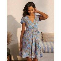 Evangeline Jersey Wrap Dress Moroccan Blue, Summer Paisley Women Boden, Moroccan Blue, Summer Paisley