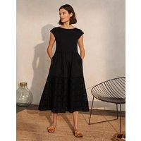 Woven Mix Trim Detail Dress Black Women Boden, Black