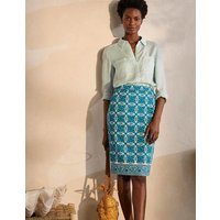 Gabriella Pencil Skirt Ivory and Indian Ocean Women Boden, Ivory and Indian Ocean