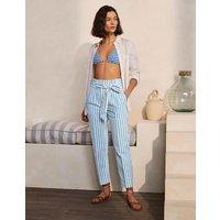 Ludgate Paperbag Trousers Moroccan Blue Stripe Women Boden, Moroccan Blue Stripe