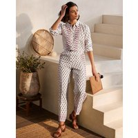 Cornwall Linen Trousers Ivory, Paisley Stamp Women Boden, Ivory, Paisley Stamp