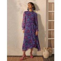 Saskia Silk Dress French Navy, Opulent Bloom Women Boden, French Navy, Opulent Bloom