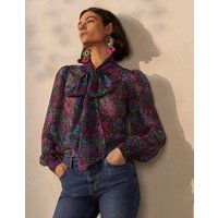 Rosaline Silk Blouse French Navy, Opulent Bloom Women Boden, French Navy, Opulent Bloom