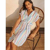 Evie Linen Shirt Dress Multistripe Boden, Multistripe