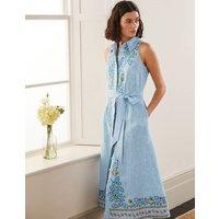Kate Linen Shirt Dress Moroccan Blue Stripe Boden, Moroccan Blue Stripe