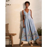 Jemima Linen Midi Dress Grey Blue Chambray Women Boden, Grey Blue Chambray