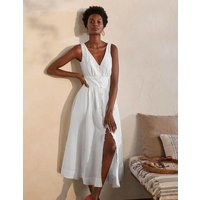 Jemima Linen Midi Dress White Women Boden, White