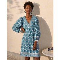 Bridget Belted Linen Dress Indian Ocean, Flora Tile Women Boden, Indian Ocean, Flora Tile